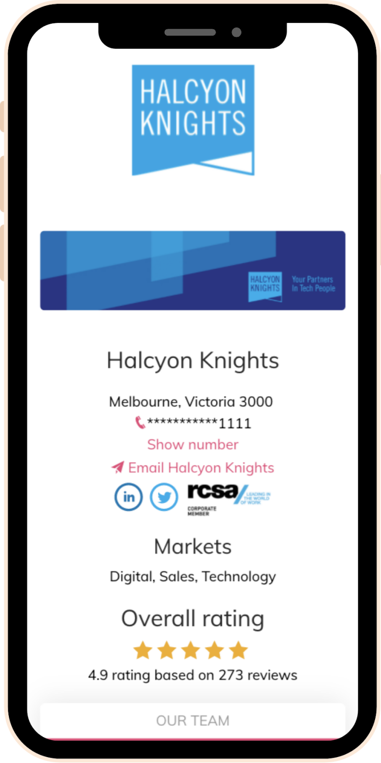 Halcyon Knoghts Agency page on Sourcr