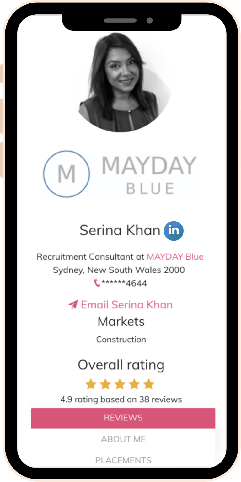 Example of profile page on mobile